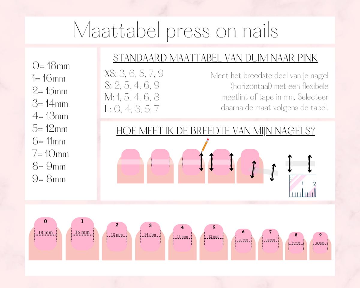 Maattabel press on nails